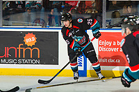 KELOWNA, CANADA - OCTOBER 13: Kyle Crosbie #25 of the Kelowna Rockets skates with the puck against the Tri-City Americans  on October 13, 2018 at Prospera Place in Kelowna, British Columbia, Canada.  (Photo by Marissa Baecker/Shoot the Breeze)  *** Local Caption ***