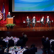 February 9, 2012 - New York, NY :.Former U.S. President Bill Clinton, at podium, speaks during an 'Invest in Ireland' forum at New York University on Thursday morning, Feb. 9, 2012. Seated at his right are, from left, Taoiseach (Irish Prime Minister) Enda Kenny, Tanaiste (deputy Irish Prime Minister) Eamon Gilmore, and.Irish Minister for Jobs, Enterprise and Innovation Richard Bruton, and H.E. Michael Collins, Ambassador of Ireland to the United States. .CREDIT: Karsten Moran for The Irish Independent