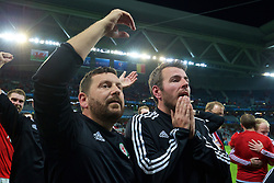 LILLE, FRANCE - Friday, July 1, 2016: Wales' David Griffiths and Ronan Kavanagh after the 3-1 victory over during the UEFA Euro 2016 Championship Quarter-Final match at the Stade Pierre Mauroy. (Pic by David Rawcliffe/Propaganda)