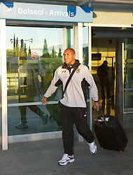 PODGORICA, MONTENEGRO- Wednesday, September 1, 2010: Wales' goalkeeper Jason Brown arrives at Podgorica Airport as the team prepare for the opening UEFA Euro 2012 Qualifying Group 4 match against Montenegro. (Pic by David Rawcliffe/Propaganda)