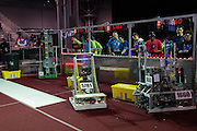 March 13, 2015 - New York, NY. High school students at the FIRST Robotics Competition at the Jacob Javits Center practice having their robots pick up and stack crates. 03/13/2015 Photograph by Allegra Abramo