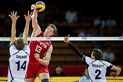 10.09.2014, Century Hall st. Wystawowa 1, Breslau, POL, FIVB WM, Finnland vs Russland, im Bild Konstantin Shumov finland #14 Dmitriy Muserskiy russia #13 Eemi Tervaportti finland #2 // during the FIVB Volleyball Men's World Championships Pool A Match beween Finland and Russia at the Century Hall st. Wystawowa 1 in Breslau, Poland on 2014/09/10. EXPA Pictures © 2014, PhotoCredit: EXPA/ Newspix/ Sebastian Borowski<br /> <br /> *****ATTENTION - for AUT, SLO, CRO, SRB, BIH, MAZ, TUR, SUI, SWE only*****