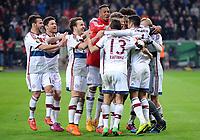Fotball<br /> Tyskland<br /> 08.04.2015<br /> Foto: Witters/Digitalsport<br /> NORWAY ONLY<br /> <br /> Schlussjubel v.l. Juan Bernat, Xabi Alonso, Mario Goetze, Jerome Boateng, Rafinha, Thiago Alcantara (Bayern)<br /> <br /> Fussball, DFB-Pokal, Viertelfinale, Bayer 04 Leverkusen - FC Bayern München 4:5 n.E.