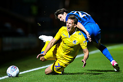 Joe Partington of Bristol Rovers is fouled by Sam Hart of Rochdale - Mandatory by-line: Robbie Stephenson/JMP - 02/10/2018 - FOOTBALL - Crown Oil Arena - Rochdale, England - Rochdale v Bristol Rovers - Sky Bet League One