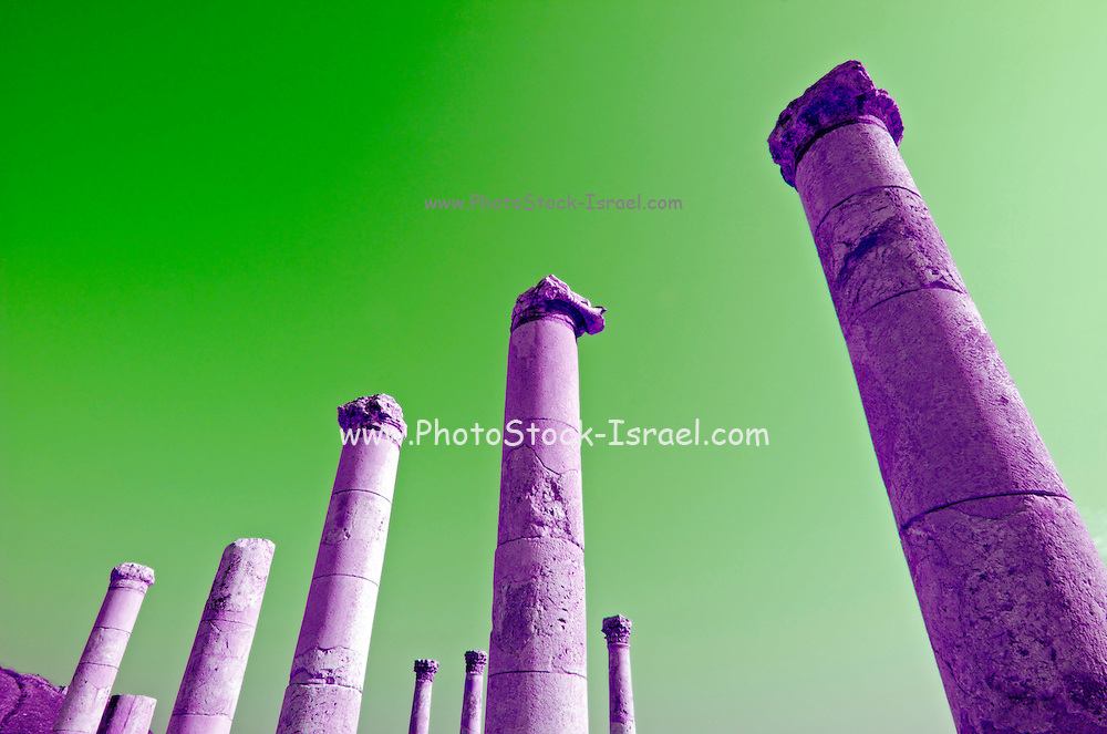 "Israel, Bet Shean ancient columns found on the site, colour manipulated, During the Hellenistic period Bet Shean had a Greek population and was called Scythopolis. In 64 BCE it was taken by the Romans, rebuilt, and made the capital of the Decapolis, the ""Ten Cities"" of Samaria that were centers of Greco-Roman culture. The city contains the best preserved Roman theater of ancient Samaria as well as a hippodrome, cardo, and other trademarks of the Roman influence. Excavations at the cite are ongoing at the site and reveal no less than 18 successive ancient towns"