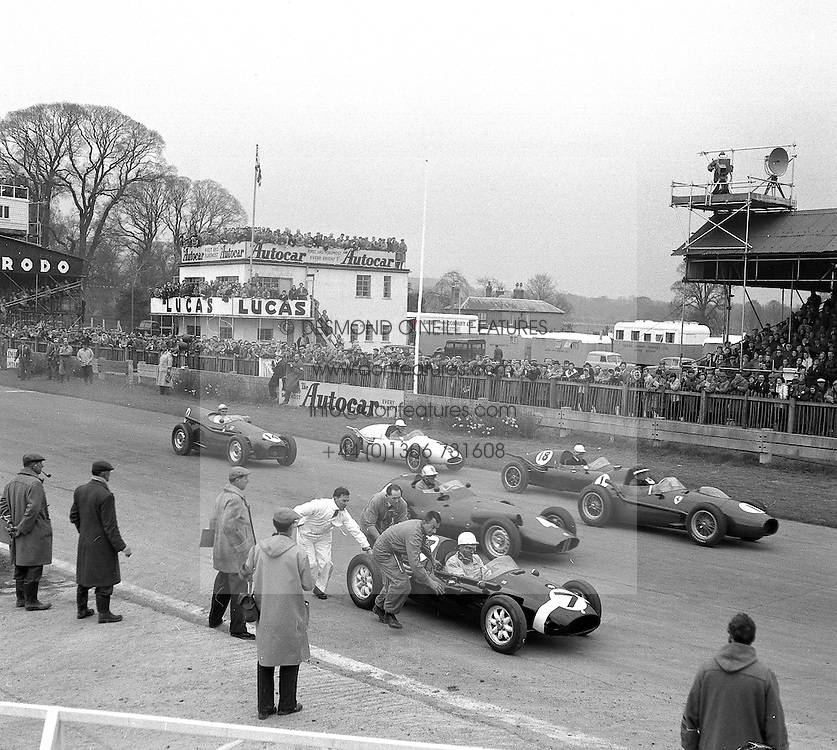 Starting Grid at motor racing at Goodwood Race track, Sussex in 1958.