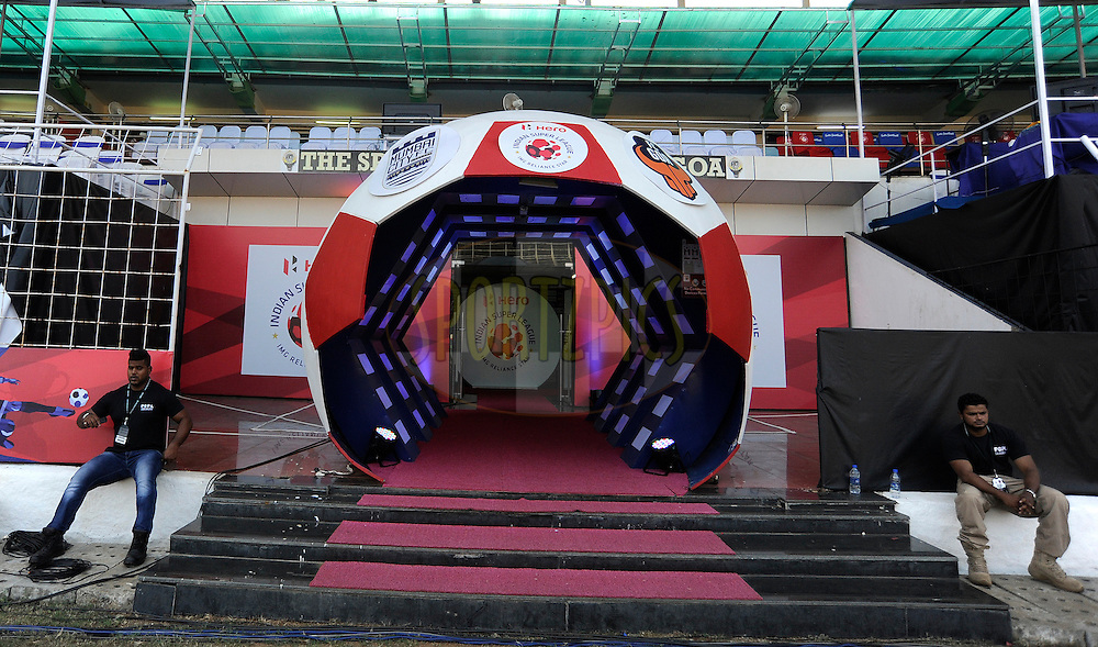 Tunnel during match 36 of the Indian Super League (ISL) season 2  between Mumbai City FC vs FC Pune City held at the D.Y. Patil Stadium, Navi Mumbai, India on the 13th November 2015.<br /> <br /> Photo by Pal Pillai / ISL/ SPORTZPICS