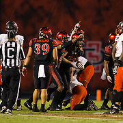 10 November 2018: San Diego State Aztecs safety Parker Baldwin (33) recovers a fumble in the third quarter. The Aztecs lost 27-24 to UNLV Saturday night at SDCCU Stadium falling a game behind Fresno State in the conference standings.