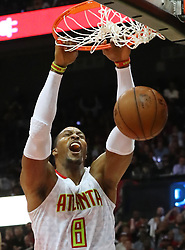 The Atlanta Hawks' Dwight Howard slams against the Washington Wizards in Game 4 of a first-round playoff series on April 24, 2017, at Philips Arena in Atlanta. (Photo by Curtis Compton/Atlanta Journal-Constition/TNS) *** Please Use Credit from Credit Field ***