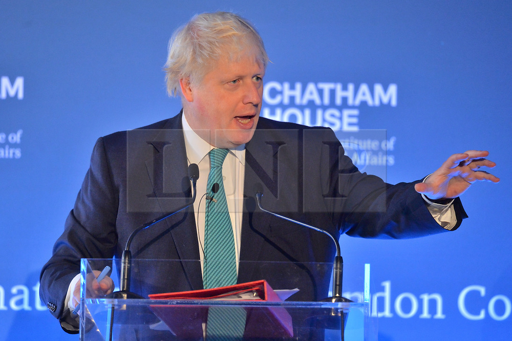 © Licensed to London News Pictures. 23/10/2017. London, UK. British Foreign Secretary BORIS JOHNSON make a speech at the Chatham House London annual conference held at the Renaissance Hotel. Photo credit: Ray Tang/LNP