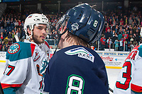 KELOWNA, CANADA - APRIL 30: Rodney Southam #17 of the Kelowna Rockets shakes hands with Scott Eansor #8 of the Seattle Thunderbirds on April 30, 2017 at Prospera Place in Kelowna, British Columbia, Canada.  (Photo by Marissa Baecker/Shoot the Breeze)  *** Local Caption ***