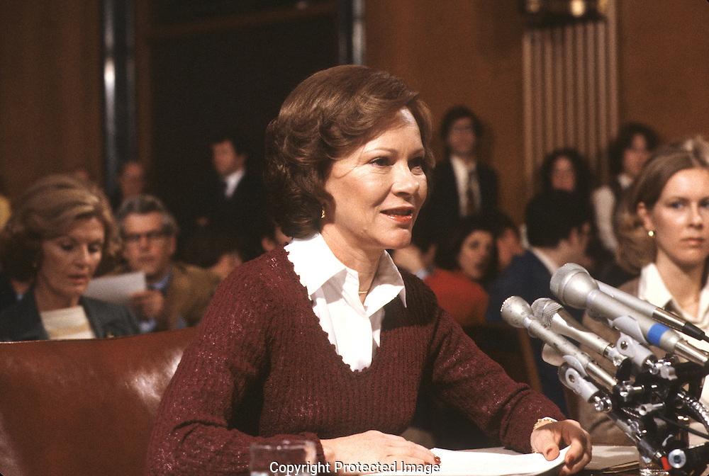 First lady Rosalynn Carter testifying before the Senate Health and Science Subcommittee,  in May 1979.<br /> <br /> Photograph by Dennis Brack<br /> bb45