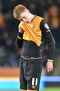 Hull City midfielder Sam Clucas (11)  during the Sky Bet Championship match between Hull City and Brighton and Hove Albion at the KC Stadium, Kingston upon Hull, England on 16 February 2016. Photo by Ian Lyall.