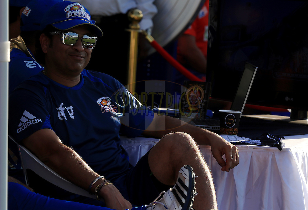 Sachin Tendulkar Icon of Mumbai Indians during match 16 of the Pepsi Indian Premier League 2014 between the Delhi Daredevils and the Mumbai Indians held at the Sharjah Cricket Stadium, Sharjah, United Arab Emirates on the 27th April 2014<br /> <br /> Photo by Sandeep Shetty / IPL / SPORTZPICS