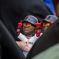 """David Ortiz """"Big Papi"""" from the Red Sox at the State House in Concord NH for the release of the new Red Sox lottery ticket.  With Governor Maggie Hassan and Wally"""