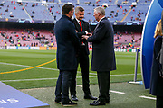 Sir Alex Ferguson with Manchester United Manager Ole Gunnar Solskjaer and Gary Neville before the Champions League quarter-final leg 2 of 2 match between Barcelona and Manchester United at Camp Nou, Barcelona, Spain on 16 April 2019.
