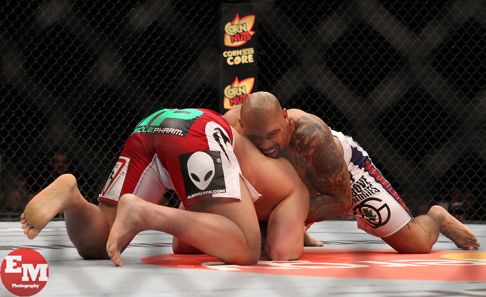 East Rutherford, NJ - May 05, 2012: Pat Barry (Red and White Trunks) and Lavar Johnson (Black and White trunks) during UFC on FOX 3 at the Izod Center in East Rutherford, New Jersey.