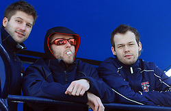 Tomi Hafner, Dejan Varl and Andrej Hebar at whale watching boat, when some guys of Slovenian Team were celebrating an anniversary of playing for the team, during IIHF WC 2008 in Halifax,  on May 07, 2008, sea at Halifax, Nova Scotia, Canada. (Photo by Vid Ponikvar / Sportal Images)