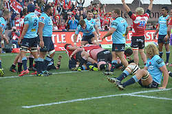 28-07-18 Emirates Airline Park, Johannesburg. Super Rugby semi-final Emirates Lions vs NSW Waratahs. 2nd half. Marnus Schoeman raises his hands in celebration try by hooker Malcolm Marx. <br />  Picture: Karen Sandison/African News Agency (ANA)