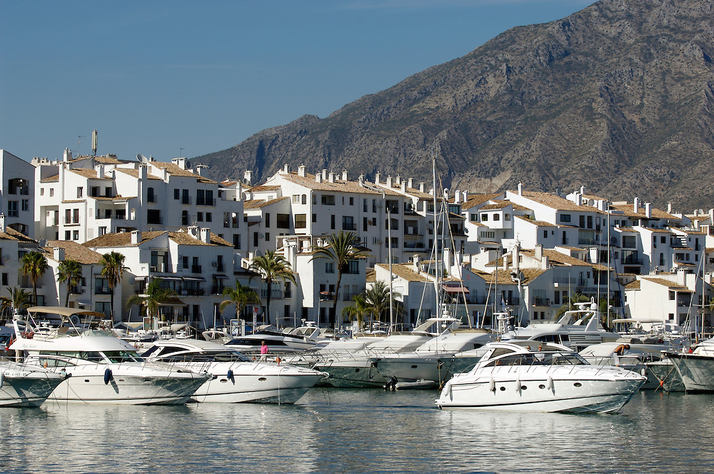 Marina and boat at Puerto Banus, Marbella, Costa del Sol, Spain
