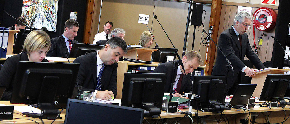 "Stephen Mills QC Counsel assisting the Commission, right, opens the proceedings at the Canterbury Earthquakes Royal Commission on CTV building, Christchurch, New Zealand, Wednesday, September 05, 2012. Credit:SNPA / The Press, Sracey Squires  ""POOL"""""