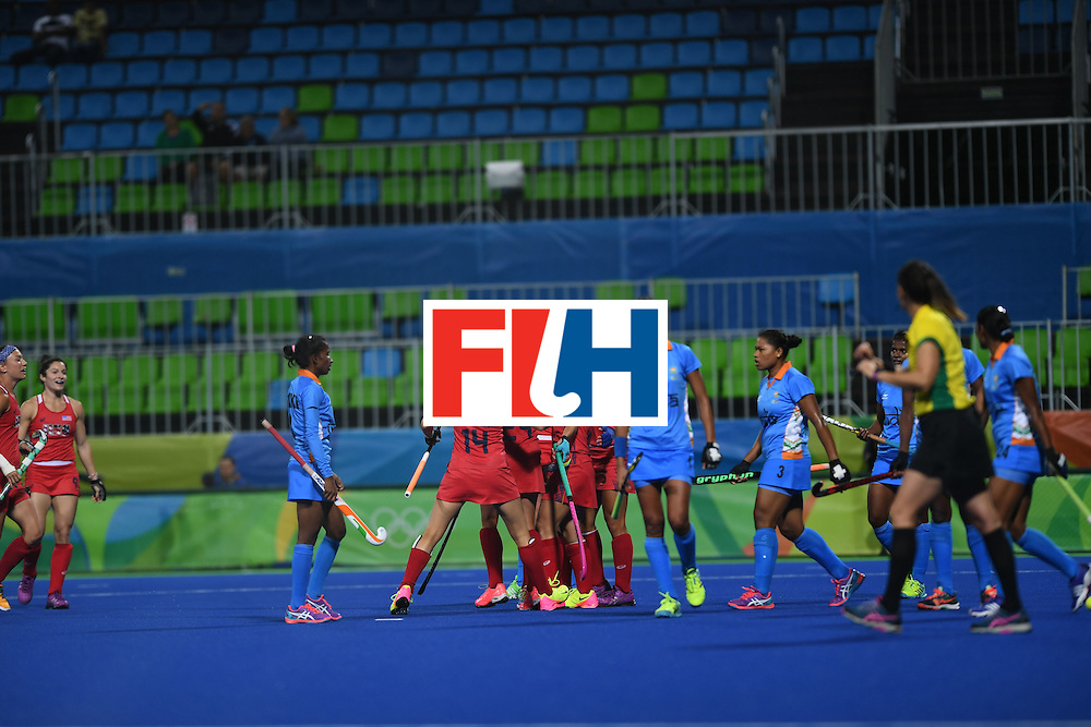The USA team celebrates scoring a goal during the women's field hockey USA vs India match of the Rio 2016 Olympics Games at the Olympic Hockey Centre in Rio de Janeiro on August, 11 2016. / AFP / MANAN VATSYAYANA        (Photo credit should read MANAN VATSYAYANA/AFP/Getty Images)