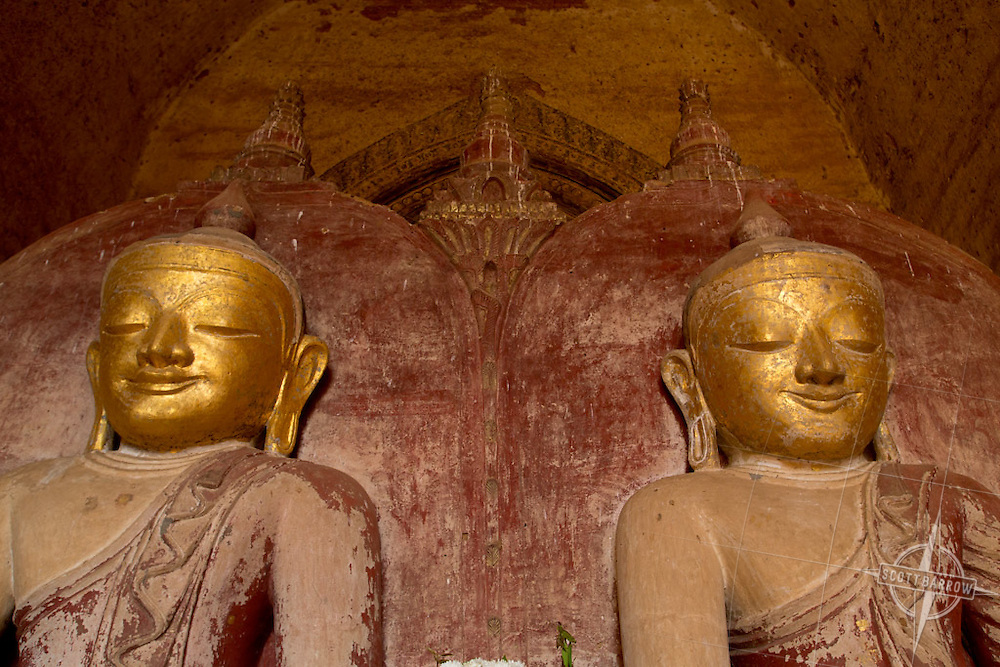 Twin Buddhas in a temple in Bagan, Myanmar.