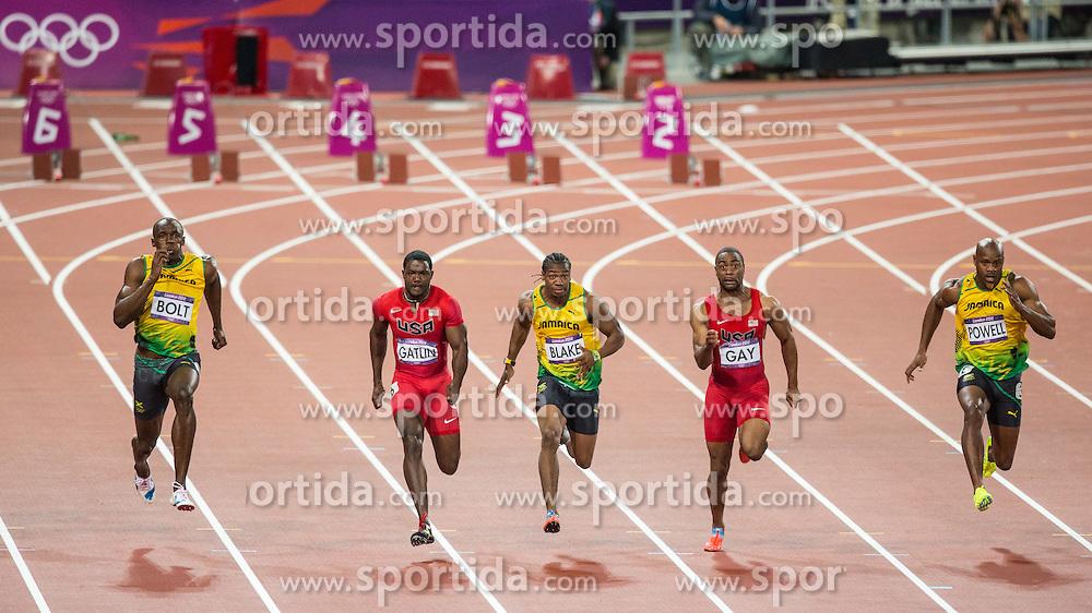 05.08.2012, Olympia Stadion, London, GBR, Olympia 2012, 100m Finale, Herren, im Bild Usain Bolt (JAM, Gold Medaille), Justin Gatlin (USA, Bronze Medaille), Yohan Blake (JAM, Silber Medaille), Tyson Gay (USA) und Asafa Powell (JAM) // Gold Medal Usain Bolt (JAM) and bronze medal Justin Gatlin (USA) and silver medal Yohan Blake (JAM), Tyson Gay (USA) and Asafa Powell (JAM) during Men 100m Final at the 2012 Summer Olympics at Olympic Stadium, London, United Kingdom on 2012/08/05. EXPA Pictures © 2012, PhotoCredit: EXPA/ Johann Groder