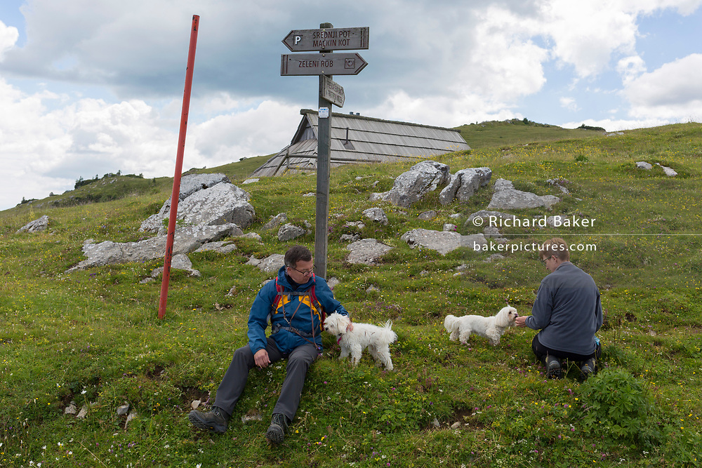 Walkers rest with their pet dogs in Velika Planina, on 26th June 2018, in Velika Planina, near Kamnik, Slovenia. Velika Planina is a mountain plateau in the Kamnik–Savinja Alps - a 5.8 square kilometres area 1,500 metres (4,900 feet) above sea level. Otherwise known as The Big Pasture Plateau, Velika Planina is a winter skiing destination and hiking route in summer. The herders' huts became popular in the early 1930s as holiday cabins (known as bajtarstvo) but these were were destroyed by the Germans during WW2 and rebuilt right afterwards by Vlasto Kopac in the summer of 1945.