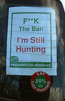 Fox Hunting.Hampshire ,England, February 19th, 2005- a flyer behind car's window. fox hunting fans put this kind of flyers behind the windows to show their opinion about fox hunting ban