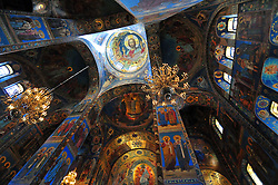The richly decorated ceiling of the Church of Our Savior on the Spilled Blood in St. Petersburg, Russia. Closed for restoration for nearly 30 years, it reopened in 1997.