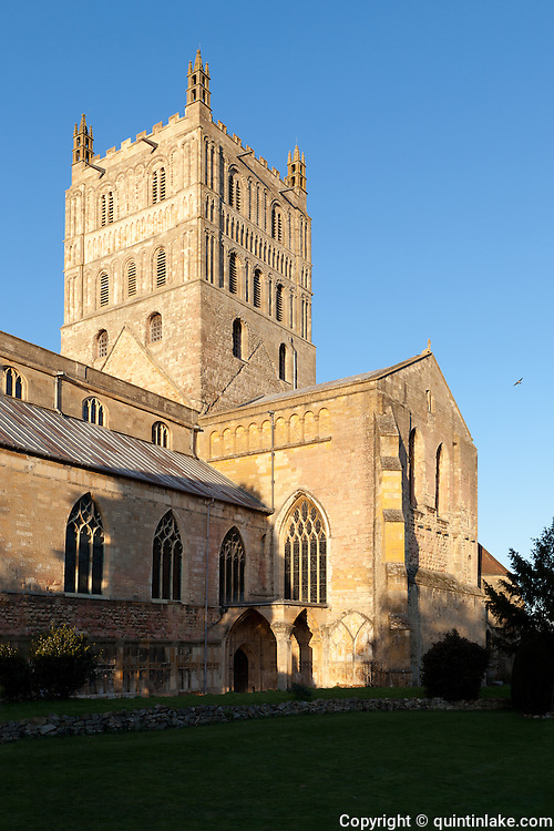 "Exterior of Tewkesbury tower Abbey  dating from 1150  rated ""probably the largest and finest Romanesque tower in England"" by Sir Nikolaus Pevsner."