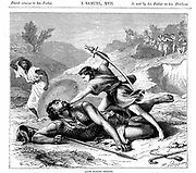 David slaying the Philistine giant Goliath.'Bible' I Samuel 17. Goliath  6 cubits (approx 3 metres) tall.  At bottom right is the sling David used to hurl stone which brought down Goliath. Wood engraving c1870