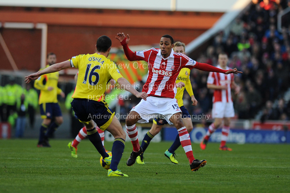 Stoke city's Steven Nzonzi © goes past Sunderland's John O'Shea.  Barclays Premier league, Stoke city v Sunderland at the Britannia stadium in Stoke on Trent, England on Saturday 23rd Nov 2013. pic by Andrew Orchard, Andrew Orchard sports photography,
