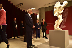 October 13, 2017 - Athens, Attiki, Greece - President of Hellenic Republic Prokopis Pavlopoulos admires a statue, during the tour's exhibition in Acropolis Museum. (Credit Image: © Dimitrios Karvountzis/Pacific Press via ZUMA Wire)