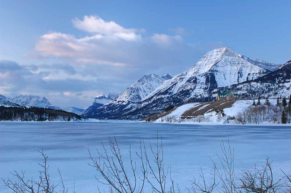 Winter, Prince of Wales Hotel, Waterton Lakes National Park, Waterton, Alberta, Canada.