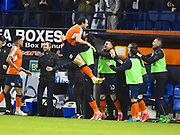 Luton Town celebrate the go ahead goal in the second half during the EFL Sky Bet League 2 play off second leg match between Luton Town and Blackpool at Kenilworth Road, Luton, England on 18 May 2017. Photo by Ian  Muir.
