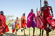 The 'welcome dance' performed to greet new guests at the Maji Moto Maasai Cultural Camp.