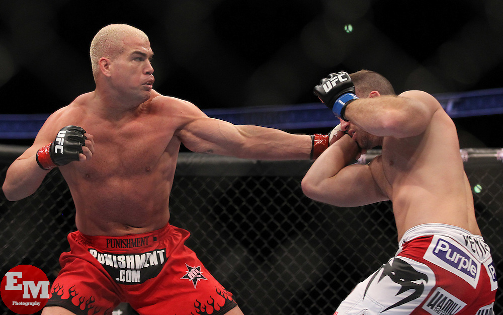 October 23, 2010; Anaheim, CA; USA; Matt Hamill (white trunks) and Tito Ortiz (red trunks) during their bout at UFC 121 at the Honda Center in Anaheim, CA.    Matt Hamill won via unanimous decision.