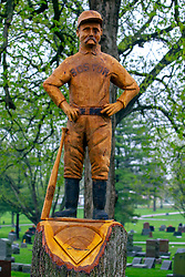 29 April 2019:   Old Hoss Radbourn chainsaw carving from an old oak tree in Evergreen Cemetery in Bloomington Illinois. The carving is near the grave of the same. Old Hoss was a major league baseball player for the Boston Red Sox. He was born in New York, but raised in Bloomington Il and called it home. The carving was created by chainsaw artist Bill Baker of Top Notch Chainsaw Carvings of Naperville IL.
