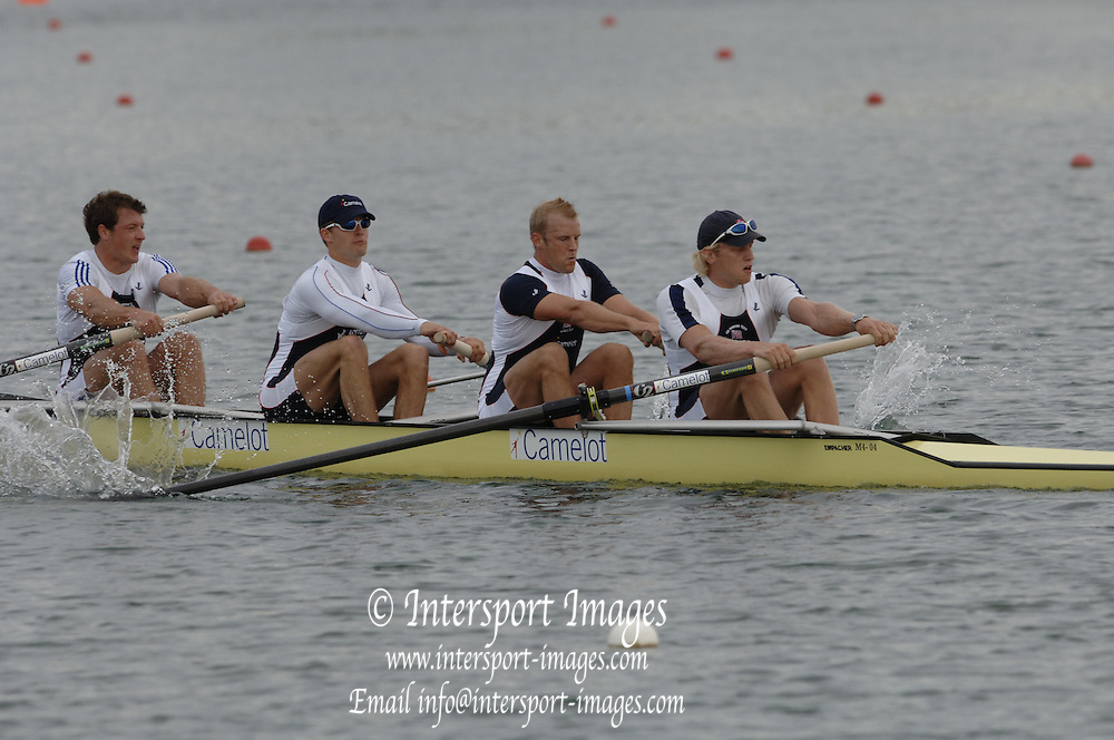 2005 FISA World Cup, Dorney Lake, Eton, ENGLAND, 25.05.05..GBR M4- Stroke Andy Twiggs Hodge, Alex Partridge, Peter Reed and Steve Williams. . Photo  Peter Spurrier.  email images@intersport-images...[Mandatory Credit Peter Spurrier/ Intersport Images] , Rowing Courses, Dorney Lake, Eton. ENGLAND