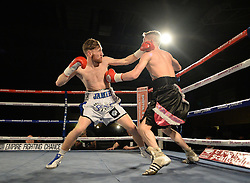 Robbie Turley in action with Jamie Speight - Photo mandatory by-line: Alex James/JMP - Mobile: 07966 386802 - 02/12/2014 - SPORT - Boxing - Bristol - Bristol City academy - Jamie Speight v Robbie Turley  - Boxing