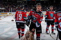 KELOWNA, CANADA - DECEMBER 2: Conner Bruggen-Cate #20 of the Kelowna Rockets triggers the annual teddy bear toss after a scoring a first period goal against the Kootenay Ice on December 2, 2017 at Prospera Place in Kelowna, British Columbia, Canada.  (Photo by Marissa Baecker/Shoot the Breeze)  *** Local Caption ***