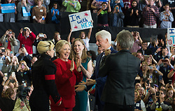 November 8, 2016 - Raleigh, United States - Bill Clinton, Hillary Clinton, Lady Gaga, Jon Bon Jovi during a campaign rally at North Carolina State University on November 8, 2016 in Raleigh North Carolina. With less than 24 hours until Election Day in the United States, Hillary Clinton is campaigning in Pennsylvania, Michigan and North Carolina. (Credit Image: © Zach D Roberts/NurPhoto via ZUMA Press)