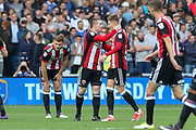 Sheffield United midfielder John Fleck (4) celebrates his goal Sheffield United midfielder David Brooks (36) during the EFL Sky Bet Championship match between Sheffield Wednesday and Sheffield Utd at Hillsborough, Sheffield, England on 24 September 2017. Photo by Phil Duncan.