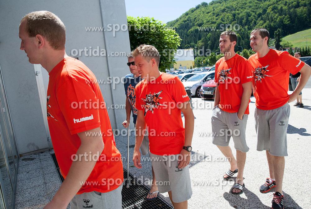 Mitja Nosan, Janez Gams during press conference of RK Gorenje before new handball season 2013/14 on July 31, 2013 in Gorenje, Velenje, Slovenia.  (Photo by Vid Ponikvar / Sportida.com)