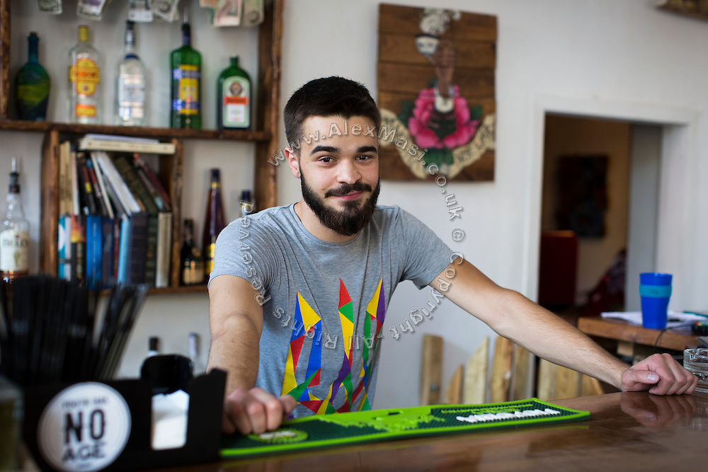 Bogdan Chaban, 22, owner of Cafe' Izba in Mariupol, Ukraine, has also been a former (illegal) volunteer pro-Ukrainian fighter, combatting Russian-backed separatists from the start of the conflict until May 2016, when he opened this new business in Mariupol and retired from fighting.