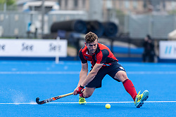 Hampstead & Westminster's Matt Guise-Brown. Hampstead & Westminster v Surbiton - Men's Hockey League Final, Lee Valley Hockey & Tennis Centre, London, UK on 29 April 2018. Photo: Simon Parker