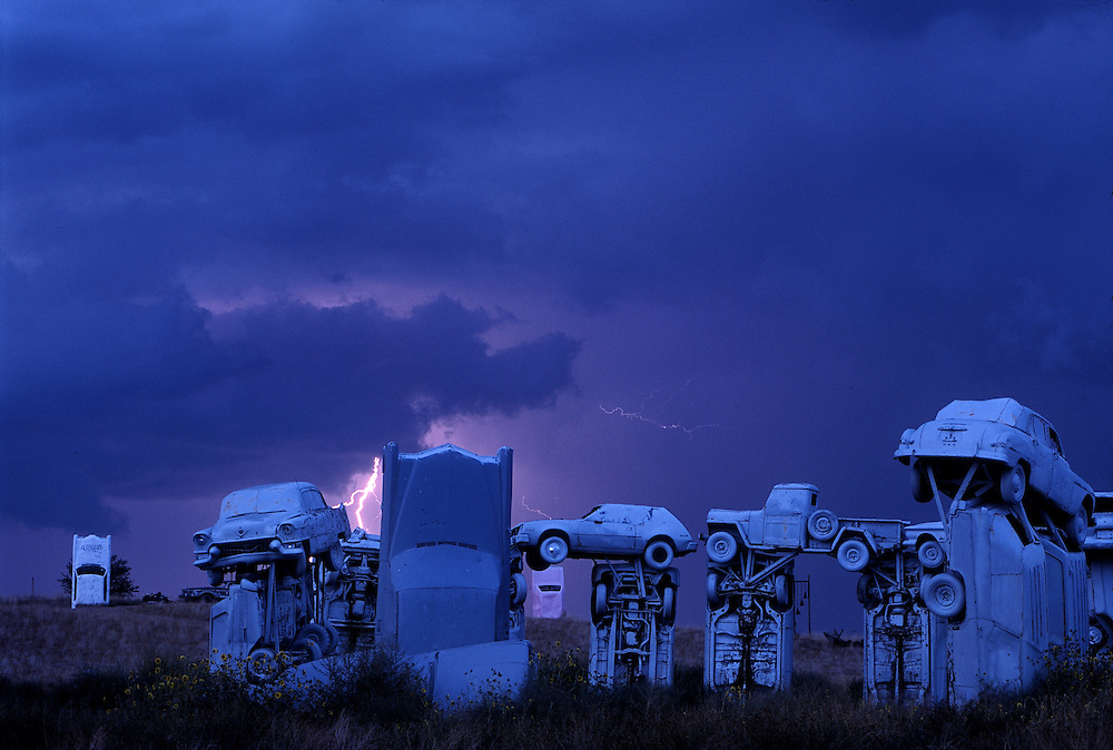 Carhenge is a replica of Stonehenge, but made of old automobiles.  It sits in a corn field outside Alliance, Nebraska.