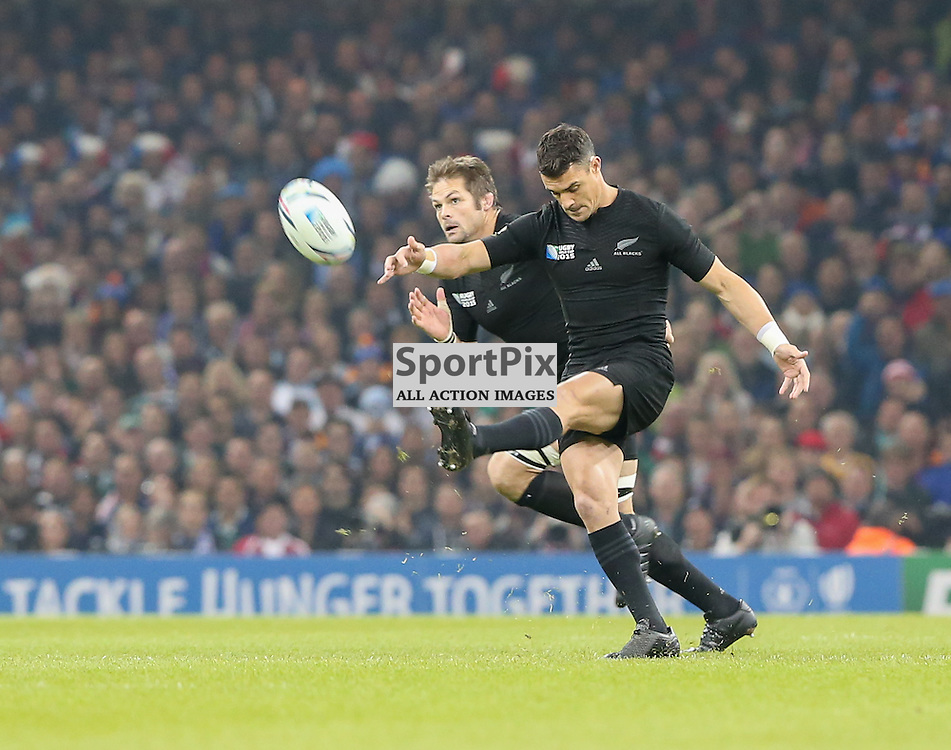 Dan Carter kicks off and Captain Richie McCaw chases during the Rugby World Cup Quarter Final, New Zealand v France, Saturday 17 October 2015, Millenium Stadium, Cardiff (Photo by Mike Poole - Photopoole)